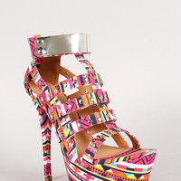 Dollhouse Tribal Studded Caged Stiletto Platform Heel Color: Pink Multi, Size: 8