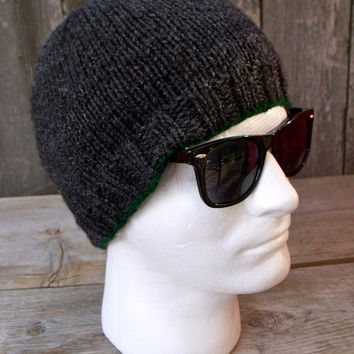 SALE 25% OFF - Men's Basic Beanie in Dark, Charcoal Gray with Hunter Green Edging