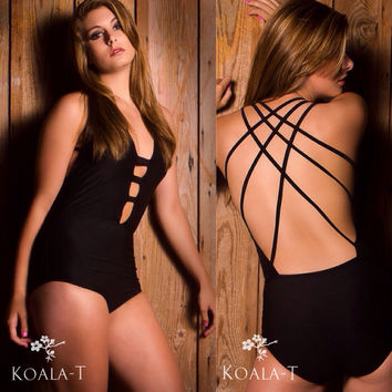 Black or White Crisscross Back Monokini by KoalaTFashion on Etsy