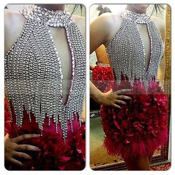 2017 Luxury Rhinestones High Neck Feather Cocktail Dresses Keyhole Backless Fuchsia 3D Flowers Short Cocktail Party Dresses