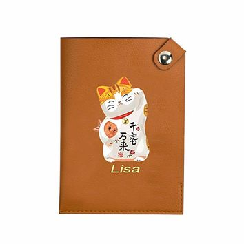 Cute Lucky Fortune Cat Pocket Customized Cute Leather Passport Holder - Passport Covers - Passport Wallet_SUPERTRAMPshop