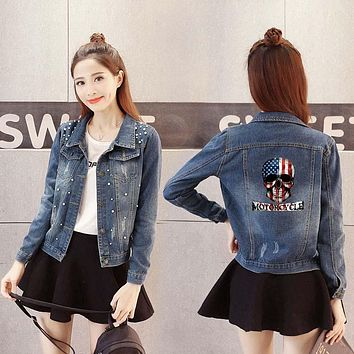 Women Denim Jacket usa flag skull Casual female Outwear
