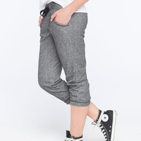 Full Tilt Marled French Terry Womens Cropped Jogger Pants Black/White  In Sizes