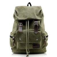 Genuine Leather +Canvas Backpack Men Military Tactical Backpack Girls Vintage School Backpack Women Laptop Backpack Bag Rucksack