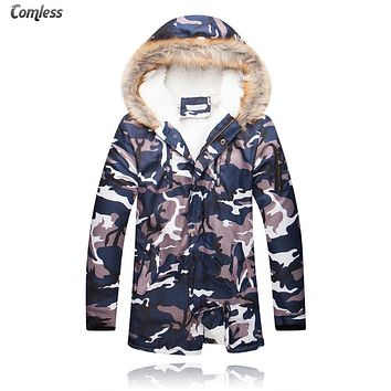 Long Camouflage Winter Jacket Men 2016 New Fashion Thicken Wool Liner Camo Hooded Coats Mens Army Green Outwear Jackets M-5XL