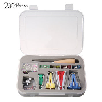Practical 6 12 18 25mm Fabric Bias Tape Maker Sewing Awl Binder Foot Pin Quilting Kit Case for Sewing Handmade DIY Tools