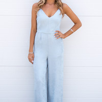 Jessa Textured Baby Blue Jumpsuit