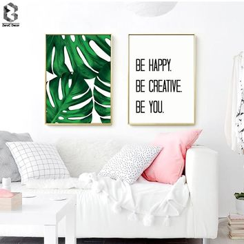 Fresh Tropical Palm Quotes Scandinavian Poster Wall Art Canvas Painting Modern Minimalist Leaf Print Living Room Home Decoration