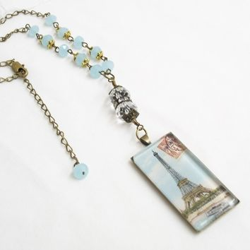 Mother's Day Eiffel Tower pendant, Paris domino necklace, vintage French image domino necklace with blue crystals, rhinestones.
