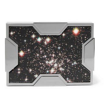 Lee Savage - Space printed leather and gunmetal-tone clutch
