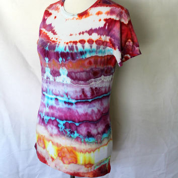 Tie Dye Shirt with Stripes in Purple, Red, and Blue, -    Size Large, Horizonal Stripe T-Shirt Tie Dye