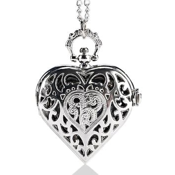 Lovely Heart Shape Steampunk Pocket Watch 2017 Beautiful Gift Item for Girlfriend Daughter Lover Nurse Silver Necklace Pendant