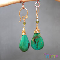 "Idocrase linked with turquoise, 1-1/2"" Earring Gold Or Silver"