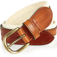 River Island MensEcru leather and canvas belt