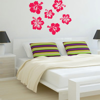 Hibiscus Flowers Decal Sticker Wall Vinyl Art Nature
