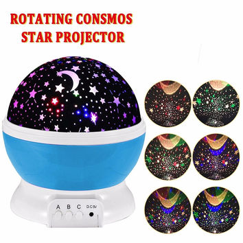 New Star Moon Sky Rotation Night Light Romantic Projector Light Projection with High Quality Kids Bedsides Led Star Moon Lamp