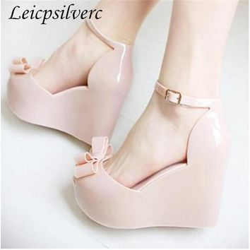 Summer New pattern fashion Slope heel Wedges female sandals jelly shoes bow platform open toe high-heeled shoes