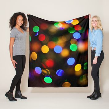 Multicolored Christmas lights. Fleece Blanket