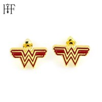 Comic Wonder Woman Earrings Justice League Style Stud Earrings Superhero Geeky Accessory Cosplay Jewelry Red Enamel Wedding Gift