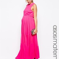 ASOS Maternity Double Layer Maxi Dress with Sheer Inserts - Hot pink
