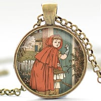 Little Red Riding Hood Necklace, Walter Crane Art Pendant, Fairy Tale Charm (013)