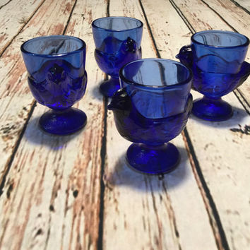 Vintage Cobalt Blue Glass Hen Egg Cups . French Chicken Egg Cups . Set of Four Egg Cups .