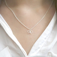 Bow Necklace, Silver Bow Necklace, Bow Jewelry, Ribbon Necklace, Silver Ribbon Necklace, Bridesmaid Gift, Bridesmaid Jewelry, Bow Charm