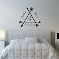 Wall Decal Monogram Arrows with Names and Date Vinyl Wall Decal 22497