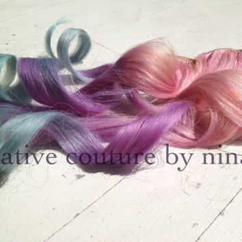 Ombre Hair Extensions, Dip Dye, Ciara Inspired Pink Purple and Blue Pastel Human Hair, Weft Clip In Extensions//20""