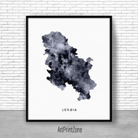 Serbia Print, Watercolor Map, Serbia Map Art, Map Painting, Map Artwork, Country Art, Office Decorations, Country Map Art Print Zone