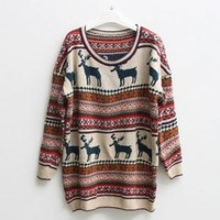 Christmas Deer Round Neck Long Sleeved Sweater - Designer Shoes|Bqueenshoes.com