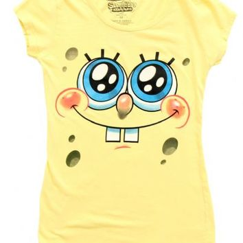 Nickelodeon SpongeBob SquarePants Glitter Eyes Juniors Yellow T-Shirt