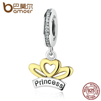 BAMOER Classic 925 Sterling Silver Princess Heart Wings Crown Charms Pendants fit Bracelets for Women Fine Jewelry SCC044