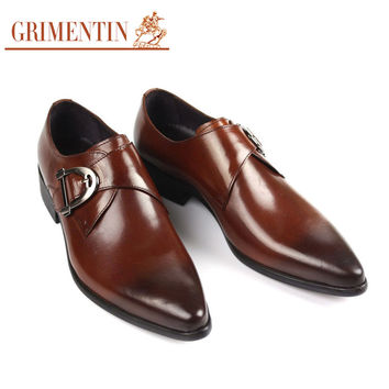 buckle shoes men casual black brown rubber genuine Leather mens dress Shoes male Business work wedding