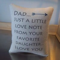 Dad from daughter gift pillow daddys liitle girl cushion