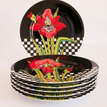Vintage Fitz & Floyd Jardin Rouge Dessert or Side Modern Plates - Set of Six - Made in USA - 1979 - Excellent Condition - Discontinued