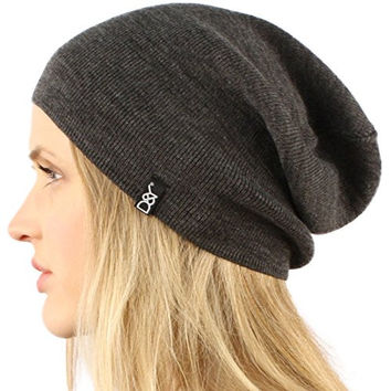 Unisex Soft Thin Stretchy Knit Long Beanie Slouchy Slouch Skull Hat Cap