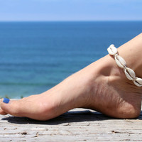 Shell  Anklet,  Macrame Anklet, Beach Anklets, Natural Hemp Jewelry, Summer Oudoors