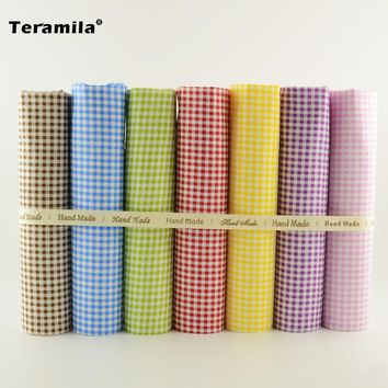 Colored Check Design 7PCS/lot Cotton Fabric Patchwork Other Sewing Project Cloth Dolls Cutting Pieces Quilting Meter Toys Tecido