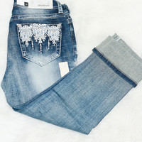 GRACE IN L.A FROZEN TAKEOVER EASY CAPRI JEANS