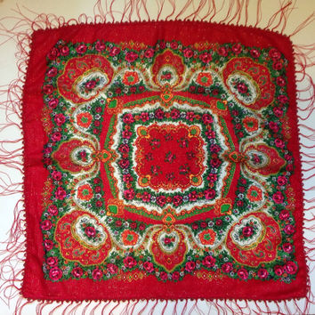 Gift for Mother Poppy Red Paisley square scarf, Holiday gift, Beaded  Fringe  Russian shawl, Birthday Gift for Best Friend Gift for Coworker