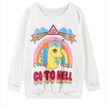 2016 swag Unisex Harajuku style Unicorn hoodies My Little Pony Rainbow Dash GO TO HELL printed women sweatshirt moletom feminino