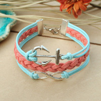 Anchor bracelet- turquoise infinity bracelet with anchor for friends, gift for girlfriend