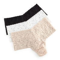 Signature Lace Retro Thong, Size: ONE SIZE,