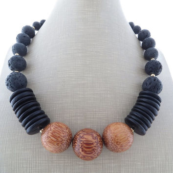 Statement necklace, black lava necklace, chunky necklace, large beaded necklace, stone choker, palm wood necklace, coconut jewelry, gift