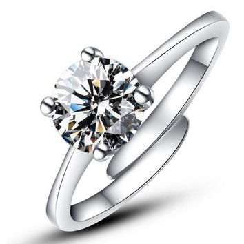 Fashion Silver Color CZ Crystal Wedding Rings For Women