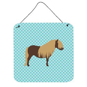 Shetland Pony Horse Blue Check Wall or Door Hanging Prints BB8088DS66