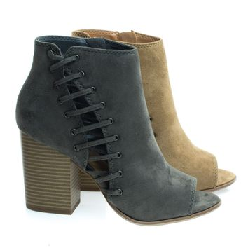 Callme Charcoal Gray by Soda, Side Cutout Corset Lace w Chunky Block Heel, Peep Toe Ankle Bootie