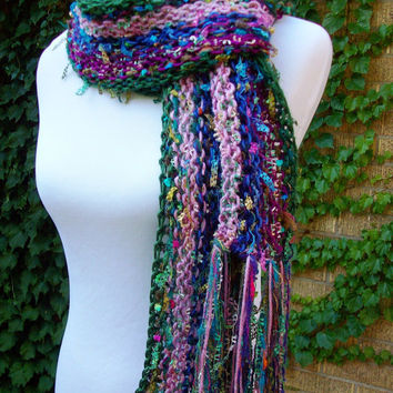 Imported Yarn Hand Knit Scarf with Multicolored Tones Fun Ladder Ribbon Fringe Fashion Accent Style
