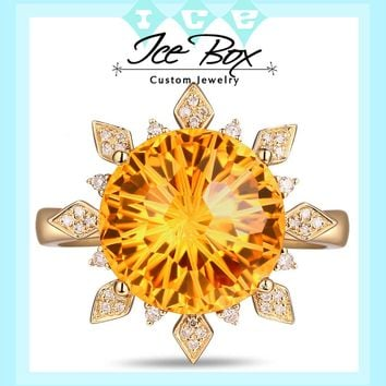Citrine Ring - 7ct 12mm Round Sunburst Cut in a 14k Yellow Gold Diamond Sunburst Halo Setting
